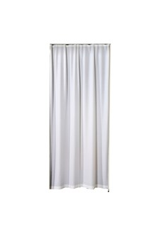 Curtain for doorway, light eggshell white